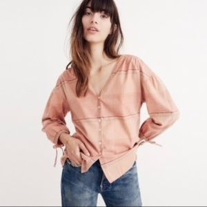 Madewell Morningview Tie-Sleeve Shirt Size L